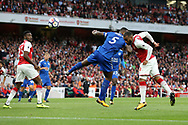 Arsenal's Alexandre Lacazette scoring his sides opening goal during the premier league match at the Emirates Stadium, London. Picture date 11th August 2017. Picture credit should read: David Klein/Sportimage