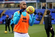 Rochdale forward Calvin Andrew (9) warming up before the EFL Sky Bet League 1 match between Peterborough United and Rochdale at London Road, Peterborough, England on 12 January 2019.