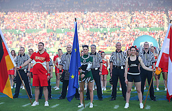 07.06.2014, Ernst Happel Stadion, Wien, AUT, American Football Europameisterschaft 2014, Finale, Oesterreich (AUT) vs Deutschland (GER), im Bild Fahnentraeger und Referee Team // during the American Football European Championship 2014 final game between Austria and Denmark at the Ernst Happel Stadion, Vienna, Austria on 2014/06/07. EXPA Pictures © 2014, PhotoCredit: EXPA/ Thomas Haumer