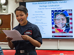 WATERS SOUTH OF JAPAN (May 21, 2017) Operations Specialist Seaman Jo Yedda Hullana, assigned to the Arleigh Burke-class guided-missile destroyer USS McCampbell (DDG 85), gives a speech during a Asian American and Pacific Islander Heritage Month celebration. McCampbell is on patrol in the U.S. 7th Fleet area of operations in support of security and stability in the Indo-Asia-Pacific region. (U.S. Navy photo by Mass Communication Specialist 2nd Class Jeremy Graham/Released)170521-N-HI376-035 <br /> Join the conversation:<br /> http://www.navy.mil/viewGallery.asp<br /> http://www.facebook.com/USNavy<br /> http://www.twitter.com/USNavy<br /> http://navylive.dodlive.mil<br /> http://pinterest.com<br /> https://plus.google.com