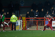Jimmy Smith scores Crawley's first goal during the EFL Sky Bet League 2 match between Crawley Town and Grimsby Town FC at the Checkatrade.com Stadium, Crawley, England on 26 November 2016. Photo by Jarrod Moore.