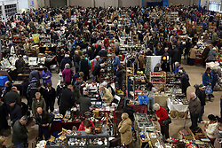 © Licensed to London News Pictures. 20/04/2014. Shepton Mallet, UK Hundreds of people avoid the wet weather and attend a giant flea market held at the Royal Bath and West showground on Easter Sunday 2014. Photo credit : Jason Bryant/LNP