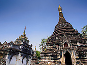 04 APRIL 2015 - CHIANG MAI, CHIANG MAI, THAILAND: Stupas (chedis) at Wat Pa Pao, a Shan (Tai) Buddhist temple in Chiang Mai, Thailand. The Tai people are an ethnic minority in Myanmar (Burma). Thousands of Shan have migrated to Thailand.       PHOTO BY JACK KURTZ