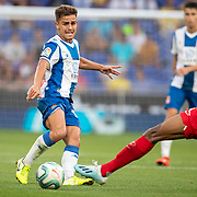 BARCELONA, SPAIN - August 18:  Oscar Melendo #14 of Espanyol defended by Fernando #25 of Sevilla during the Espanyol V  Sevilla FC, La Liga regular season match at RCDE Stadium on August 18th 2019 in Barcelona, Spain. (Photo by Tim Clayton/Corbis via Getty Images)