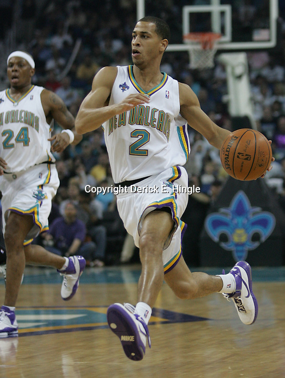 New Orleans Hornets guard Jannero Pargo #2 drives down court against the Utah Jazz in the second quarter of their NBA game on April 8, 2008 at the New Orleans Arena in New Orleans, Louisiana.