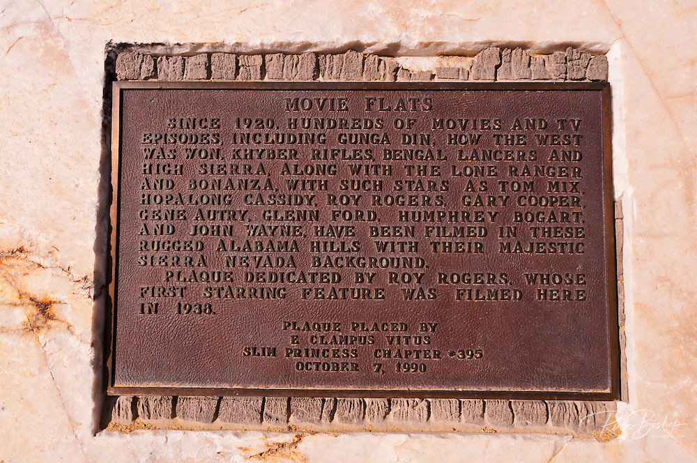 Movie Flats historical plaque at the entrance to the Alabama Hills, Lone Pine, California USA