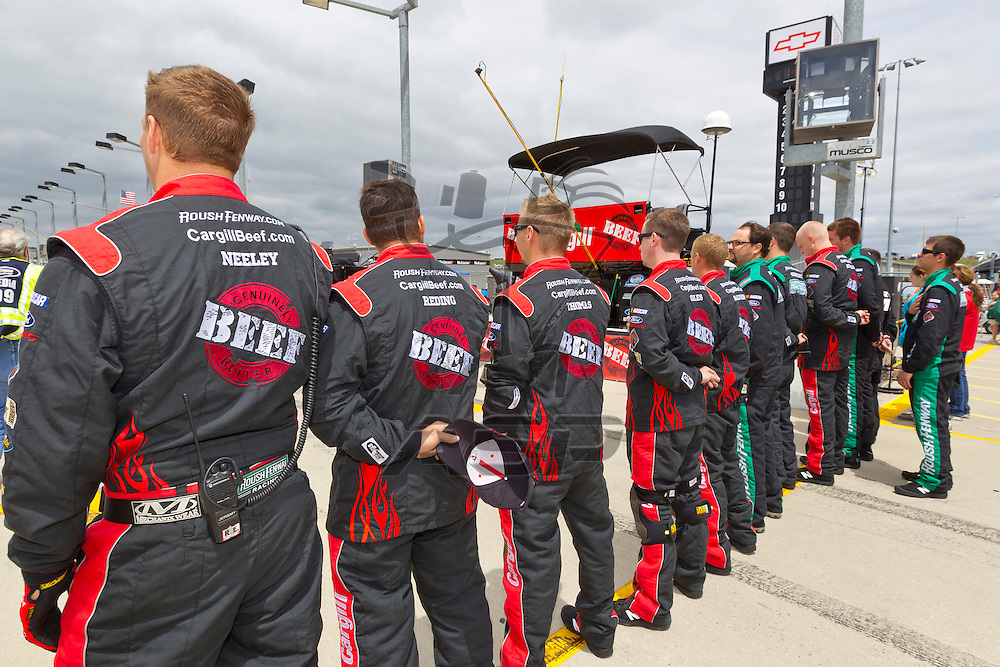 NEWTON, IA - MAY 20, 2012:  The Cargill crew readies for the Pioneer Hi-Bred 250 at the Iowa Speedway in Newton, IA.