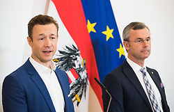 20.02.2019, Bundeskanzleramt, Wien, AUT, Bundesregierung, Pressefoyer nach Sitzung des Ministerrats, im Bild Kanzleramtsminister Gernot Blümel (ÖVP) und Bundesminister für Verkehr, Innovation und Technologie Norbert Hofer (FPÖ) // Austrian minister of chancellary Gernot Bluemel and Austrian Minister for Transport, Innovation and Technology Norbert Hofer during media briefing after cabinet meeting at federal chancellors office in Vienna, Austria on 2019/02/20 EXPA Pictures © 2019, PhotoCredit: EXPA/ Michael Gruber
