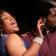 Joy Gregory, left, and Khawon Porter rehearse before a performance of Smokey Joe's Cafe Sunday June 15, 2014 at the Scottish Rite Theater in Wilmington, N.C. (Jason A. Frizzelle)