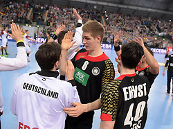 11.03.2016, Leipzig, GER, Handball Länderspiel, Deutschland vs Katar, Herren, im Bild Finn Lemke (GER #6) klatscht sich ab // during the men's Handball international Friendlies between Germany and Qatar in Leipzig, Germany on 2016/03/11. EXPA Pictures © 2016, PhotoCredit: EXPA/ Eibner-Pressefoto/ Modla<br /> <br /> *****ATTENTION - OUT of GER*****