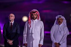 Sheikh / Scheich Joaan bin Hamad bin Khalifa Al Thani mit Longines Vertreter<br /> Doha - CHI Al SHAQAB 2020<br /> Siegerehrung<br /> Commercial Bank CHI Al Shaqab Grand Prix presented by LONGINES<br /> Int. jumping competition over two rounds and jump-off (1.60 m)<br /> 29. Februar 2020<br /> © www.sportfotos-lafrentz.de/Stefan Lafrentz