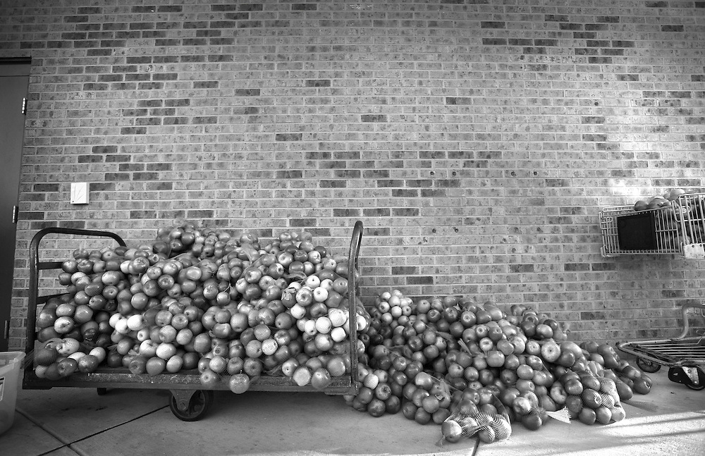 Outside the Salvation Army in Lynchburg is a load of apples gathered from a local orchard.