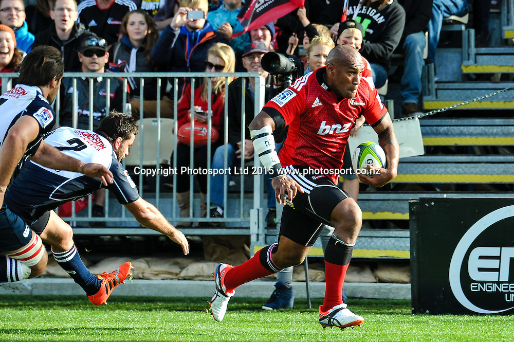 Nemani Nadolo of the Crusaders on the burst during the Super Rugby match: Crusaders v Lions at AMI Stadium, Christchurch, New Zealand, 14 March 2015. Copyright Photo: John Davidson / www.Photosport.co.nz