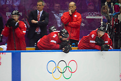 18.02.2014, Bolshoy Ice Dome, Adler, RUS, Sochi, 2014, Eishockey Herren, Playoff, im Bild Mathias Seger (SUI), Julien Vauclair (SUI), Yannick Weber (SUI) enttaeuscht // during Mens Icehockey Playoff Match between Switzerland and Latvia during the Olympic Winter Games Sochi 2014 at the Bolshoy Ice Dome in Adler, Russia on 2014/02/18. EXPA Pictures © 2014, PhotoCredit: EXPA/ Freshfocus/ Urs Lindt<br /> <br /> *****ATTENTION - for AUT, SLO, CRO, SRB, BIH, MAZ only*****