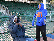 Brooks Johnson (left) talks with Shayla Sanders during a workout in Kissimmee, Fla., Thursday, Jan. 25, 2018.