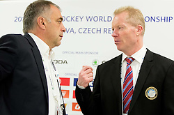Matjaz Kopitar, head coach Slovenia and Roy Johansen, head coach of Norway during press conference after the Ice Hockey match between Slovenia and Norway at Day 8 in Group B of 2015 IIHF World Championship, on May 8, 2015 in CEZ Arena, Ostrava, Czech Republic. Photo by Vid Ponikvar / Sportida