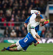 Twickenham, Surrey. UK. Jonny MAY, up ended by, Dwayne POLATAIVAO's tackle,  during the England vs Samoa, Autumn International. Old Mutual Wealth Series. RFU Stadium, Twickenham. Surrey, England.<br /> <br /> Saturday  25.11.17  <br /> <br /> [Mandatory Credit Peter SPURRIER/Intersport Images]