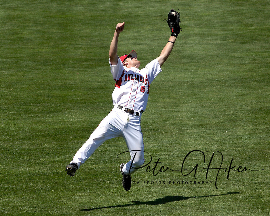 Georgia shortstop Gordon Beckham makes a diving catch in left field to end the sixth inning against Oregon State.  Oregon State eliminated Georgia with a 5-3 win at the College World Series at Rosenblatt Stadium in Omaha, Nebraska, June 19, 2006.