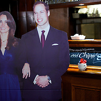 A cardboard cutout depicting PRINCE WILLIAM and KATE MIDDLETON joins pub goers at a central London watering hole days leading up to their royal wedding on April 29, 2011 in Westminster Abbey.