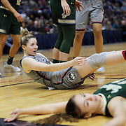 HARTFORD, CONNECTICUT- JANUARY 10: Ariadna Pujol #11 of the South Florida Bulls is called for a foul on Katie Lou Samuelson #33 of the Connecticut Huskies during the the UConn Huskies Vs USF Bulls, NCAA Women's Basketball game on January 10th, 2017 at the XL Center, Hartford, Connecticut. (Photo by Tim Clayton/Corbis via Getty Images)