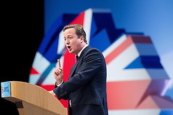 © Licensed to London News Pictures. 05/10/2011. Manchester, UK. The Prime Minister, David Cameron, addresses the Conservative Party Conference at the closing speech of the event. Photo credit : Joel Goodman/LNP