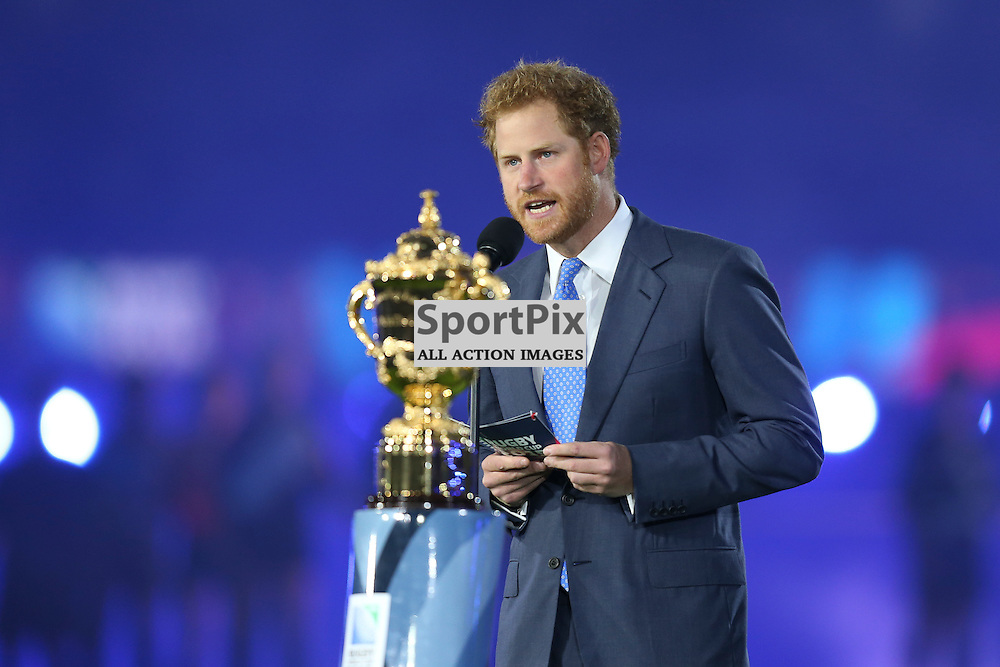 TWICKENHAM, ENGLAND - SEPTEMBER 18:  Prince Harry's doing his opening speech before the opening game of the Rugby World Cup between England and Fiji at Twickenham on September 18, 2015 in London, England. (Credit: SAM TODD | SportPix.org.uk)