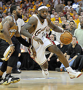Washington Wizards guard DeShawn Stevenson (L) tries to stop Cleveland Cavaliers forward LeBron James (R) during the fourth quarter of their game at the Quicken Loans Arena in Cleveland, Ohio, USA, 19 April 2008. The Cavaliers beat the Wizards 93-86 during the first game of the NBA Eastern Conference playoffs.
