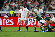 Faf de Klerk of South Africa passes the ball in front of Jamie George and Courtney Lawes of England during the World Cup Japan 2019, Final rugby union match between England and South Africa on November 2, 2019 at International Stadium Yokohama in Yokohama, Japan - Photo Yuya Nagase / Photo Kishimoto / ProSportsImages / DPPI