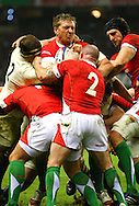6 Feb 2010 Twickenham, England: Andy Powell of Wales is caught in a maul during the Six Nations match between England and Wales. Photo © Andrew Tobin www.slikimages.com
