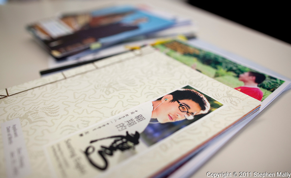 A stack of student's personal catalogue in an admissions office at Grinnell College in Grinnell, Iowa on Tuesday February 1, 2011.