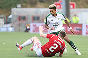 Hamilton Academical defender Aaron McGowan (2) on the floor as Glasgow Celtic midfielder Scott Sinclair (11) dribbles the ball around him during the Ladbrokes Scottish Premiership match between Hamilton Academical FC and Celtic at New Douglas Park, Hamilton, Scotland on 24 November 2018. Pic Mick Atkins