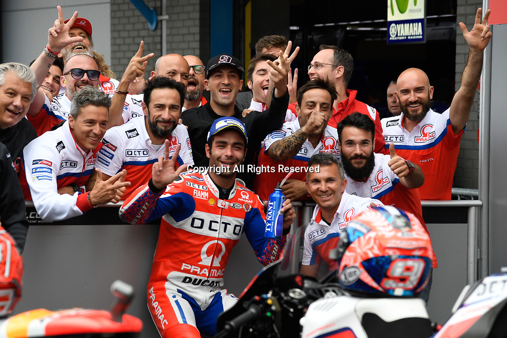 June 24th 2017, TT Circuit, Assen, Netherlands; MotoGP Grand Prix TT Assen, Qualifying Day; Danilo Petrucci (Pramac) at parc ferme in 3rd place on pole