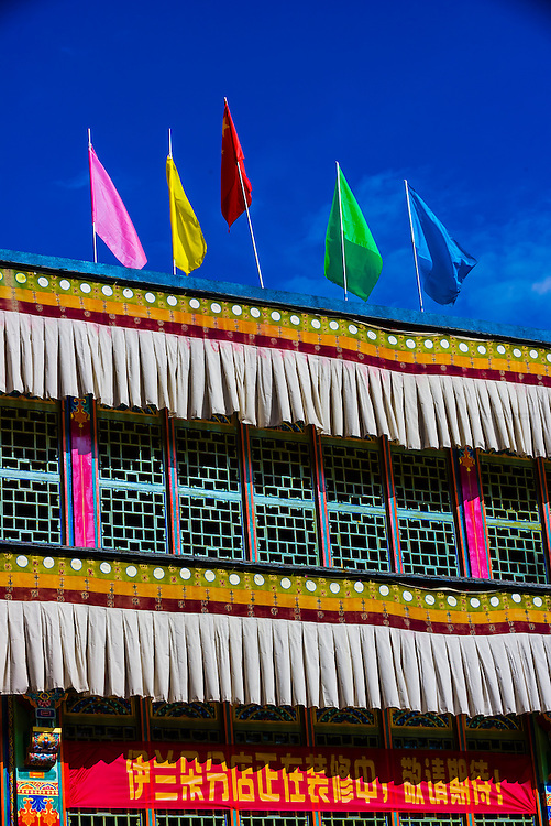 Colored flags, Old Lhasa, Tibet (Xizang), China.