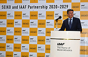 IAAF president Sebastian Coe (GBR) during a news conference prior to the IAAF World Relays, Friday, May 10, 2019,  in Yokohama, Japan.