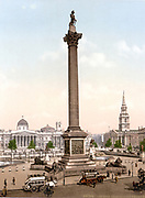 Trafalgar Square, London, England, with Nelson's Column guarded by Edwin Landseer's lions, the National Gallery in the background and the church of St Martin's-in-the-Fields, right, 1890-1900.  City Traffic Omnibus Horse Bus