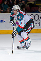 KELOWNA, CANADA - DECEMBER 27: Mitchell Wheaton #6 of the Kelowna Rockets skates with the puck against the Kamloops Blazers on December 27, 2013 at Prospera Place in Kelowna, British Columbia, Canada.   (Photo by Marissa Baecker/Shoot the Breeze)  ***  Local Caption  ***