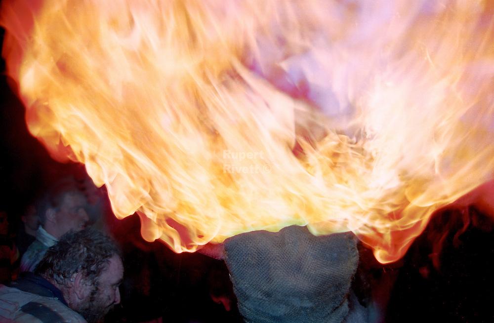 """THE FLAMES"".THE TAR BARRELS OF OTTERY ST MARY EAST DEVON..BY RUPERT RIVETT©2003..(01273)695107.07771928201"