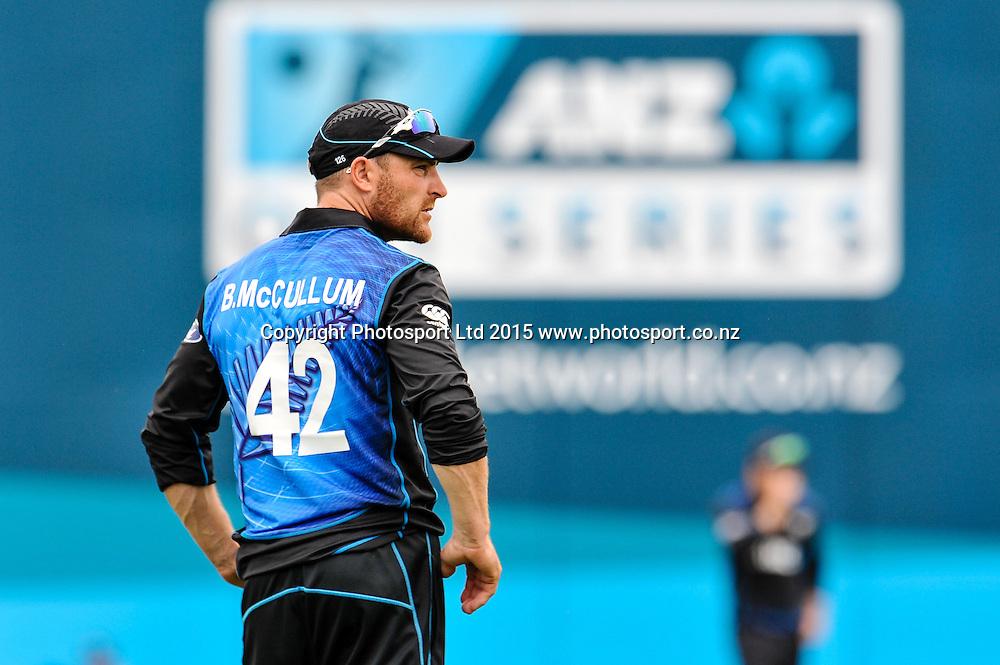 Brendon McCullum of the Black Caps in the first ODI, Black Caps v Sri Lanka, at Hagley Oval, Christchurch, 11 January 2015. Photo:John Davidson/www.photosport.co.nz