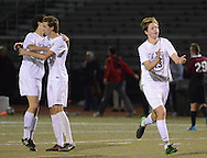 From left, CB East's Andrew Walters #12,  Ian Lutz #15 and Will Eisold #13 celebrate after defeating Conestoga 2-1 to win the District One AAA Boys Soccer Championship Saturday November 7, 2015 in Souderton, Pennsylvania.  (Photo by William Thomas Cain)