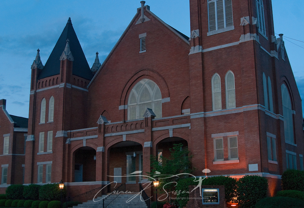 The sun sets on First Baptist Church in downtown Columbus, Miss. April 20, 2010. The church was established in 1832. (Photo by Carmen K. Sisson/Cloudybright)