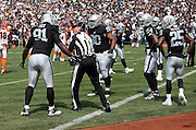 Oakland Raiders defensive end Justin Tuck (91) complains to an official about a second quarter holding penalty called on the Raiders during the 2015 NFL week 1 regular season football game against the Cincinnati Bengals on Sunday, Sept. 13, 2015 in Oakland, Calif. The Bengals won the game 33-13. (©Paul Anthony Spinelli)