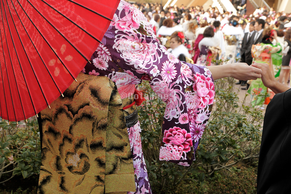 close up of a kimono during the Coming of Age festival, Seijin no hi, Japan