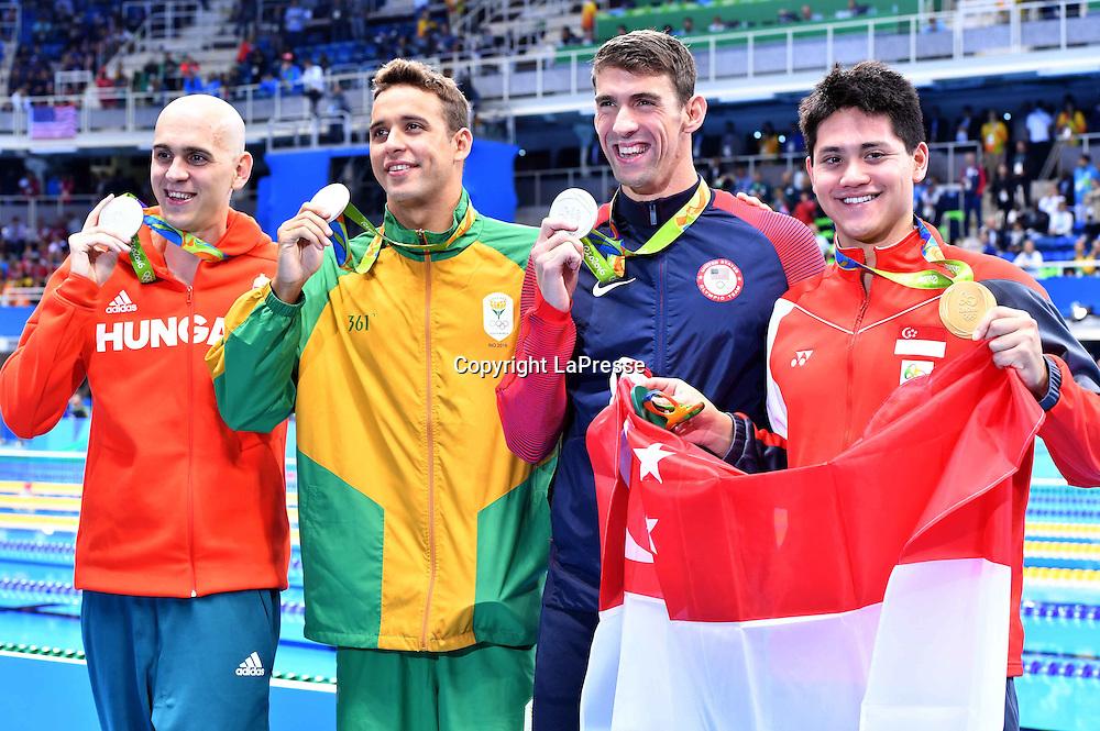 Foto  LaPresse/  Gian Mattia D'Alberto<br /> 13-08-2016  Rio de Janeiro<br /> sport<br /> Giochi Olimpici Rio 2016 - nuoto <br /> nella foto: PHELPS Michael USA<br /> (SILVER)le CLOS Chad Guy Bertrand RSA<br /> (SILVER)CSEH Laszlo HUN (SILVER), (GOLD)SCHOOLING Joseph SIN<br /> <br /> Photo LaPresse/ Gian Mattia D'Alberto<br /> 13-08-2016  Rio de Janeiro<br /> Rio 2016 Olympic  Games - swimming<br /> In the picture:  PHELPS Michael USA<br /> (SILVER)le CLOS Chad Guy Bertrand RSA<br /> (SILVER)CSEH Laszlo HUN (SILVER), (GOLD)SCHOOLING Joseph SIN