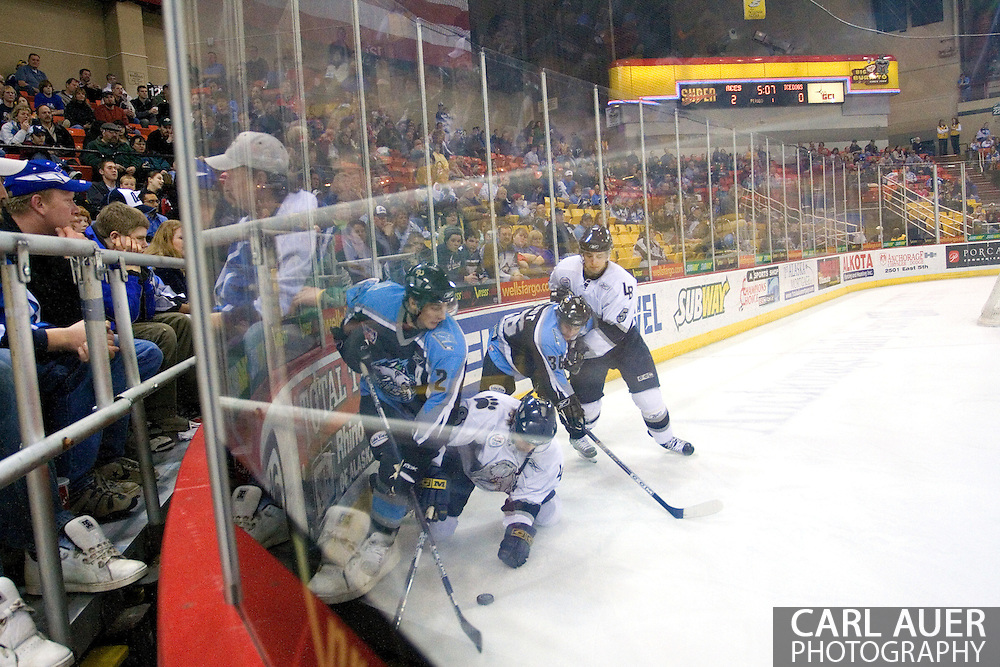 17 February, 2006 - Anchorage, AK:  Fans get an up close view of the action in the corner during the Alaska Aces 5-1 victory over the visiting Long Beach IceDogs at Sullivan Arena.