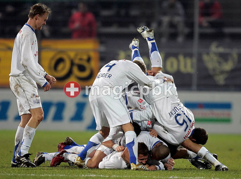 The soccer players of FC Zurich, the current leader of the Swiss national football league, celebrate the score of Almen Abdi (at the ground left) in the game against the BSC Young Boys Bern at the Hardturm stadium in Zurich, Switzerland, Saturday, February 17, 2007. FC Zurich wins the game against BSC Young Boys Bern by one to nil. (Photo by Patrick B. Kraemer / MAGICPBK)