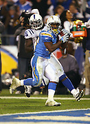 SAN DIEGO - JANUARY 03: Running back Darren Sproles #43 of the San Diego Chargers runs for the winning touchdown during the AFC Wild Card playoff game against the Indianapolis Colts at Qualcomm Stadium on January 3, 2009 in San Diego, California. The Chargers defeated the Colts 23-17 in overtime. ©Paul Anthony Spinelli *** Local Caption *** Darren Sproles