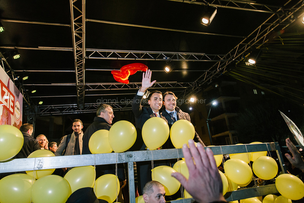 POMIGLIANO D'ARCO, ITALY - 6 MARCH 2018: Luigi Di Maio, leader of the Five Star Movement, who returned to his his hometown to celebrate the movement's victory in the 2018 Italian General Elections, greets his supporters and  fellow citizens in Pomigliano D'Arco, Italy, on March 6th 2018.<br /> <br /> The Five-Star Movement, became the first party in Italy, with 33 percent of the vote.