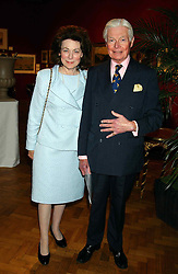 SIR CHRISTOPHER & LADY LEVER at a private view and auction of a collection of paintings, drawings and doodles by well known personalities to mark the Book launch of Ackroyd's Ark in Christie's, 8 King Street, St.James's, London on 20th September 2004 in aid of Tusk Trust.<br /><br />NON EXCLUSIVE - WORLD RIGHTS