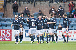 Dundee's Alex Harris celebrates after scoring their first goal. <br /> Dundee 4 v 1 Motherwell, SPFL Premiership played 10/1/2015 at Dundee's home ground Dens Park.