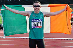 Jason Smyth, IRE celebrating his European Championship title win in the T13 100m Finals at the Berlin 2018 World Para Athletics European Championships